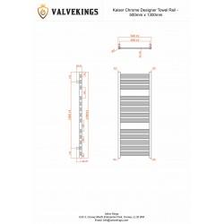 Kaiser Chrome Designer Towel Rail - 500 x 1300mm - Technical Drawing