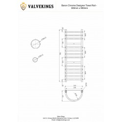 Baron Chrome Designer Towel Rail - 300 x 900mm - Technical Drawing