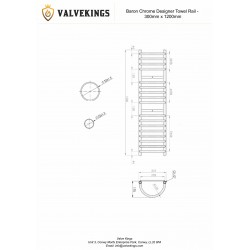 Baron Chrome Designer Towel Rail - 300 x 1200mm - Technical Drawing