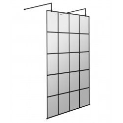 1100mm x 1950mm Black Framed Wetroom Screen with Support Bars and Feet
