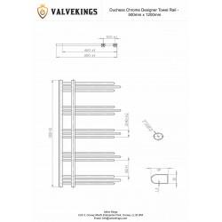 Duchess Chrome Designer Towel Rail - 500 x 1200mm - Technical Drawing