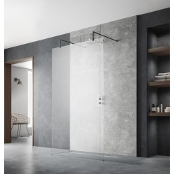 900mm x 1950mm Wetroom Screen with Black Support Bars and Feet