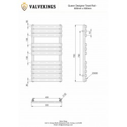 Queen White Designer Towel Rail - 500 x 930mm - Technical Drawing