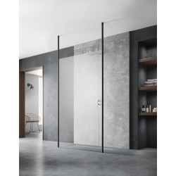 1100mm x 1950mm Wetroom Screen with Black Ceiling Posts