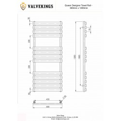 Queen White Designer Towel Rail - 500 x 1200mm - Technical Drawing