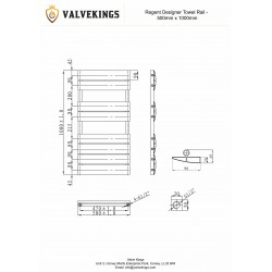 Regent White Designer Towel Rail - 500 x 1000mm - Technical Drawing