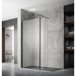 700mm x 1950mm Wetroom Screen with Black Support Bar