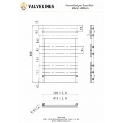 Viceroy White Designer Towel Rail - 500 x 800mm - Technical Drawing