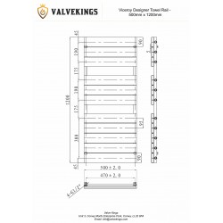 Viceroy White Designer Towel Rail - 500 x 1200mm - Technical Drawing