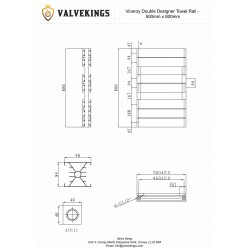 Viceroy White Double Designer Towel Rail - 500 x 800mm - Technical Drawing
