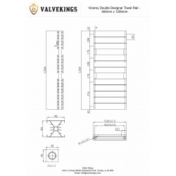 Viceroy White Double Designer Towel Rail - 500 x 1200mm - Technical Drawing