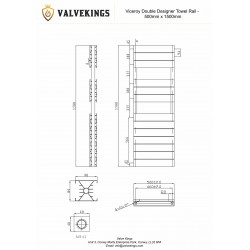 Viceroy Anthracite Double Designer Towel Rail - 500 x 1500mm - Technical Drawing
