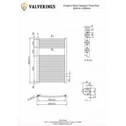 Emperor Black Designer Towel Rail - 600 x 800mm - Technical Drawing