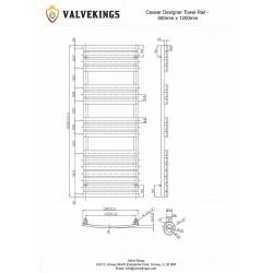 Ceasar Black Designer Towel Rail - 500 x 1200mm - Technical Drawing