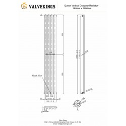 Queen White Designer Radiator - 280 x 1800mm - Technical Drawing
