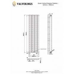 Queen White Designer Radiator - 420 x 1800mm - Technical Drawing