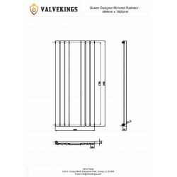 Queen White Mirror Radiator - 499 x 1800mm - Technical Drawing