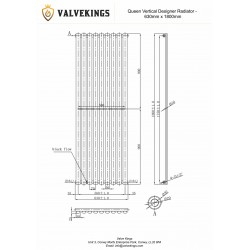 Queen Black Designer Radiator - 630 x 1800mm - Technical Drawing