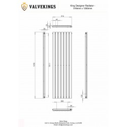 King Black Designer Radiator - 516 x 1250mm - Technical Drawing