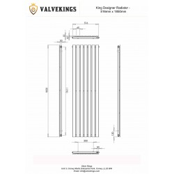 King Black Designer Radiator - 516 x 1850mm - Technical Drawing