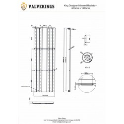 King Black Mirror Designer Radiator - 610 x 1800mm - Technical Drawing