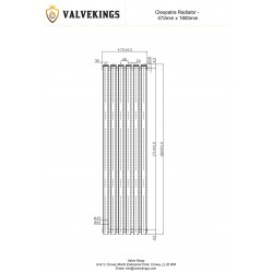 Cleopatra Anthracite Designer Radiator - 472 x 1800mm - Technical Drawing