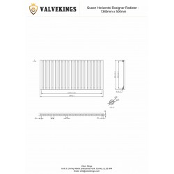 Queen White Designer Radiator - 1380 x 500mm - Technical Drawing