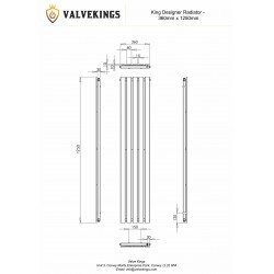 King White Designer Radiator - 1250 x 360mm - Technical Drawing