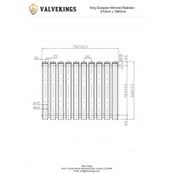 Cleopatra White Designer Radiator - 792 x 600mm - Technical Drawing
