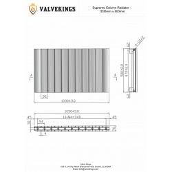 Supreme White Aluminium Radiator - 1030 x 500mm - Technical Drawing