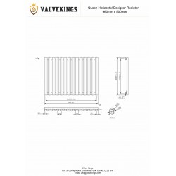 Queen Black Designer Radiator - 960 x 500mm - Technical Drawing