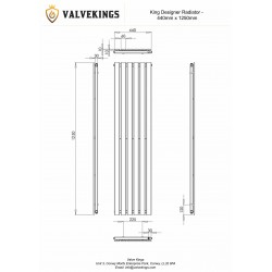 King Black Designer Radiator - 1250 x 440mm - Technical Drawing