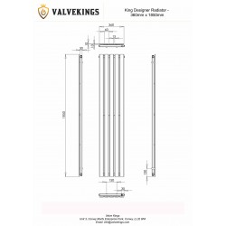 King Black Designer Radiator - 1850 x 360mm - Technical Drawing