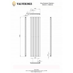 King Black Designer Radiator - 1850 x 440mm - Technical Drawing