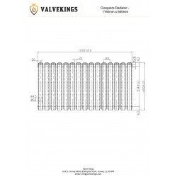 Cleopatra Anthracite Designer Radiator - 1192 x 600mm - Technical Drawing
