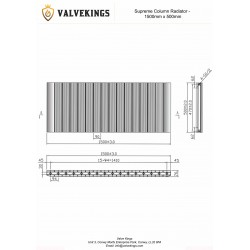 Supreme Anthracite Aluminium Radiator - 1500 x 500mm - Technical Drawing