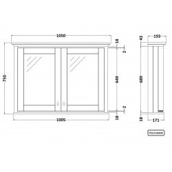Old London Storm Grey 1050mm 2 Door Mirror Storage Cabinet - Technical Drawing
