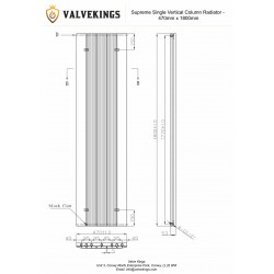 Supreme Anthracite Aluminium Radiator - 470 x 1800mm - Technical Drawing