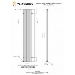 Supreme White Aluminium Radiator - 470 x 1800mm - Technical Drawing