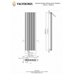 Supreme White Aluminium Radiator - 470 x 1800mm Double - Technical Drawing