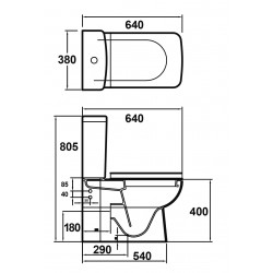 Arlo Close Coupled Toilet Pan Cistern and Soft Close Toilet Seat - Technical Drawing