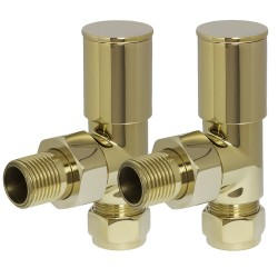 Bright Gold Manual Angled Radiator Valves