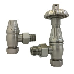 Brushed Nickel Traditional Thermostatic Angled Radiator Valves