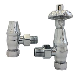 Chrome Traditional Thermostatic Angled Radiator Valves
