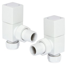 White Cubic Manual Angled Radiator Valves