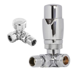 Chrome Thermostatic Corner Radiator Valves