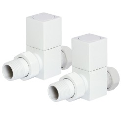 White Square Radiator Valves Straight
