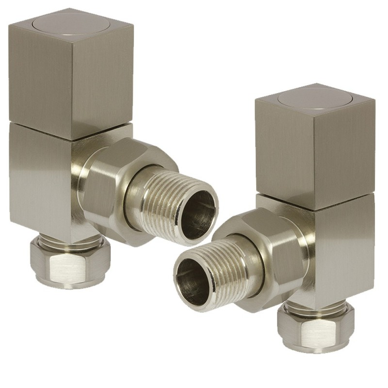 Brushed Nickel Cubic Manual Angled   Radiator Valves