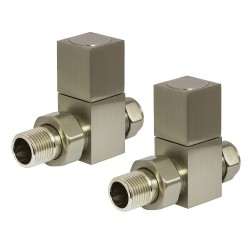 Brushed Nickel Cubic Manual Straight Radiator Valves