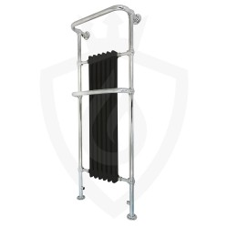Epsom Black Floor Standing Traditional Towel Rail - 576 x 1520mm